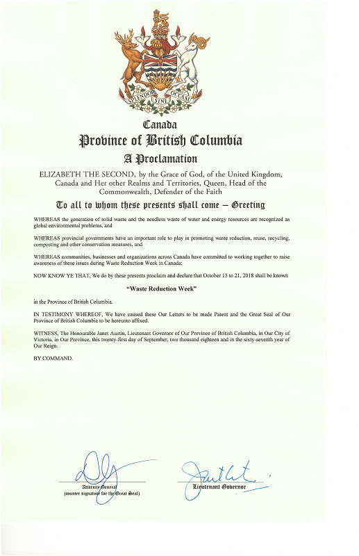 Province Waste Reduction Week Proclamation
