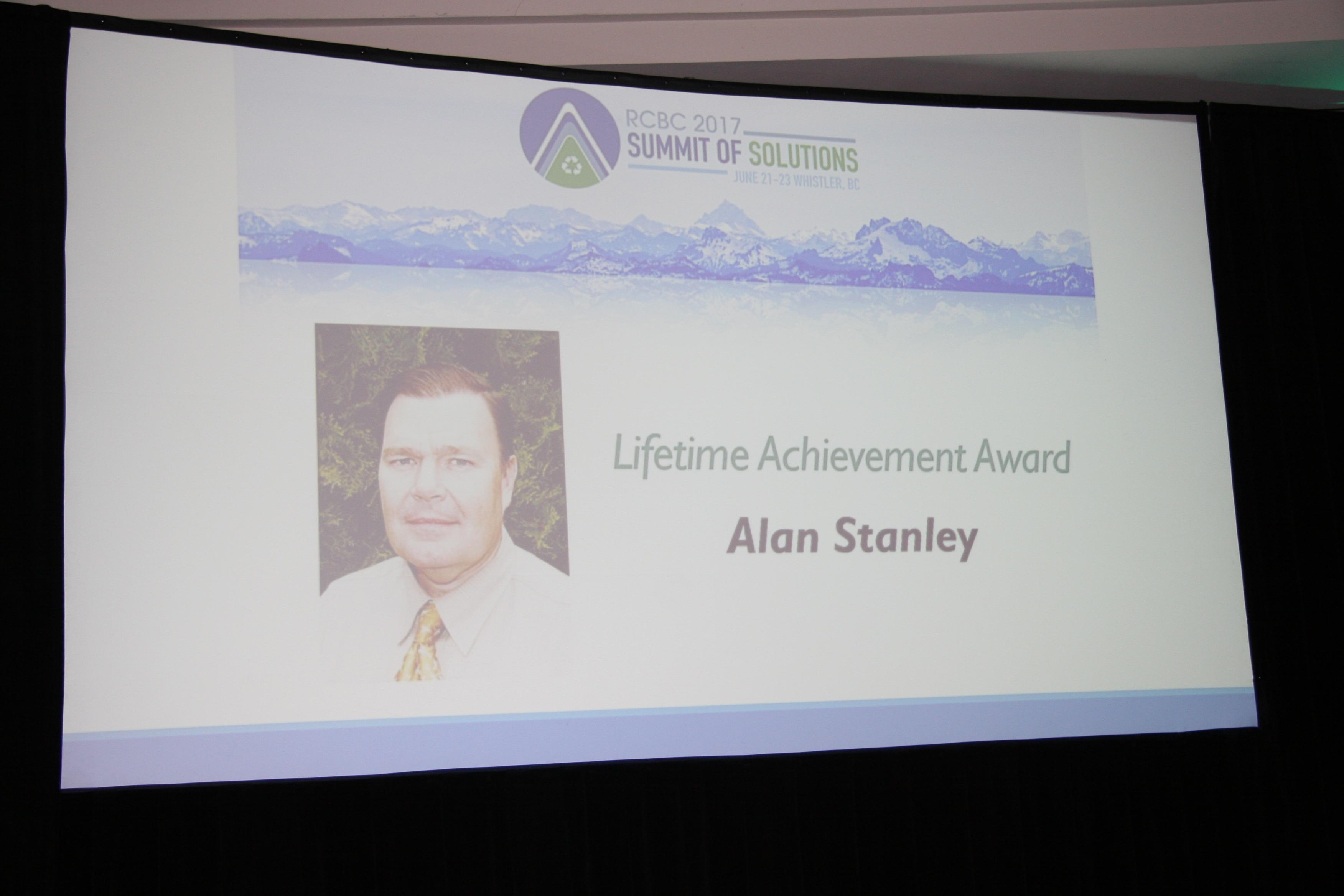 Lifetime Achievement winner Alan Stanley slide