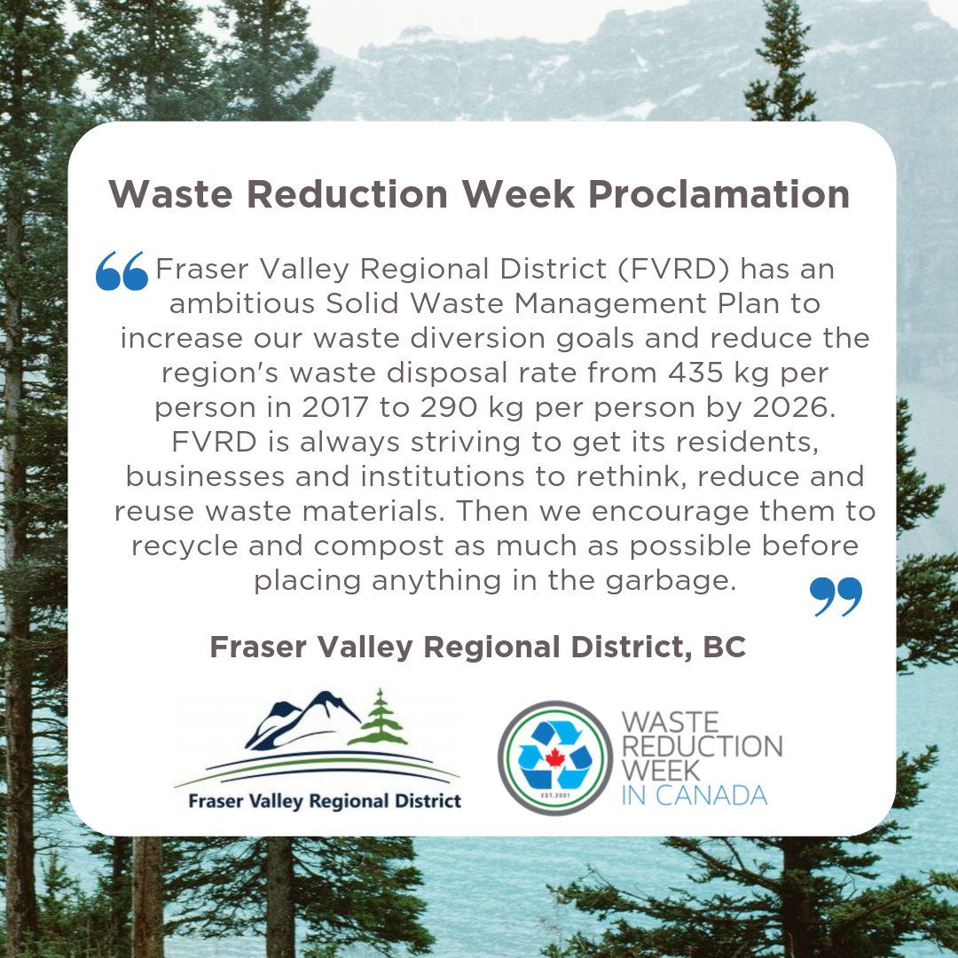 Fraser Valley Waste Reduction Week Proclamation
